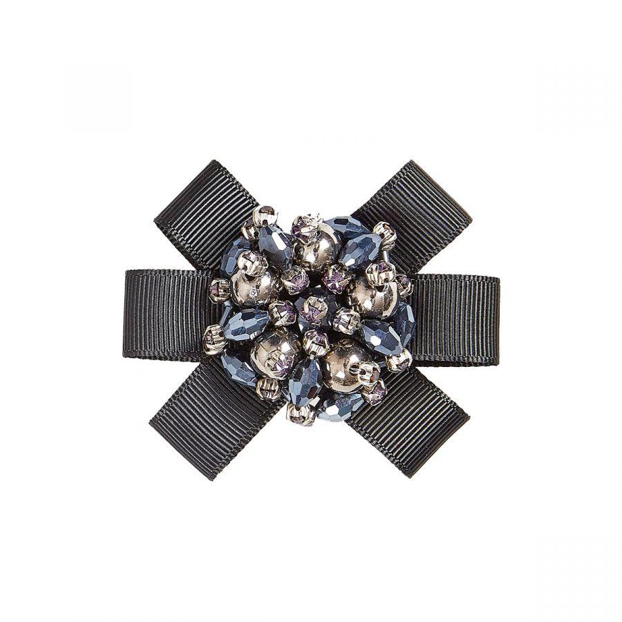 Jenna - Black Grosgrain/Beads