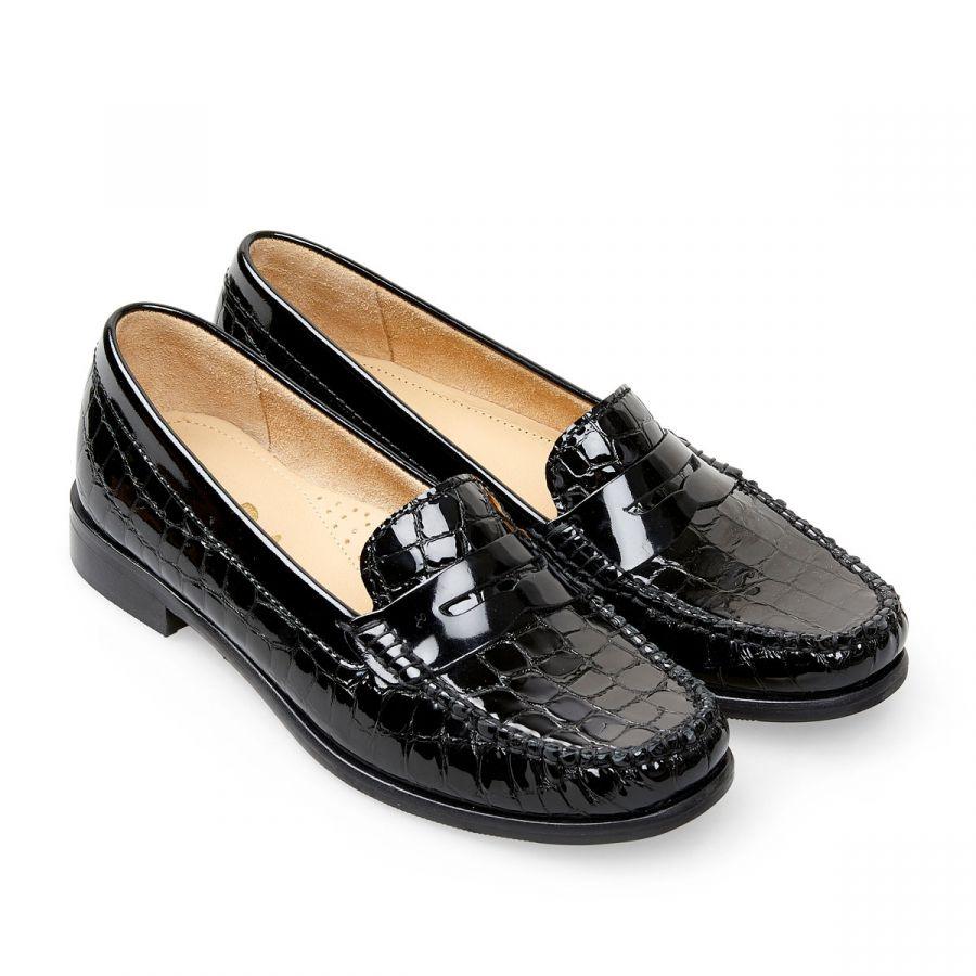 Hampden - Black Patent Croc