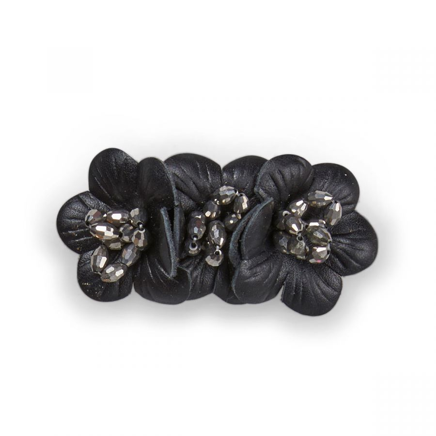 Flora - Black Leather / Silver Beads