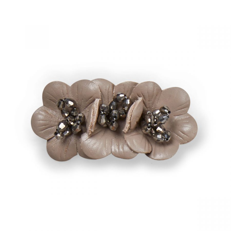 Flora - Fawn Leather / Silver Beads