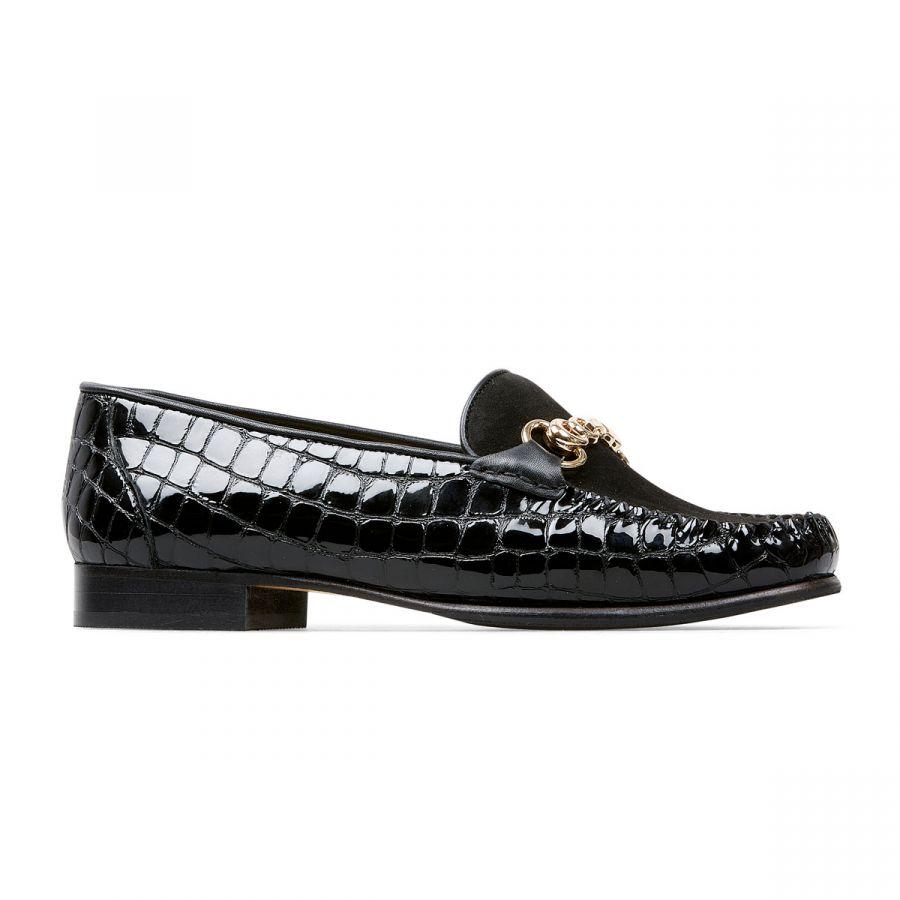 Greenham II - Black Patent Croc