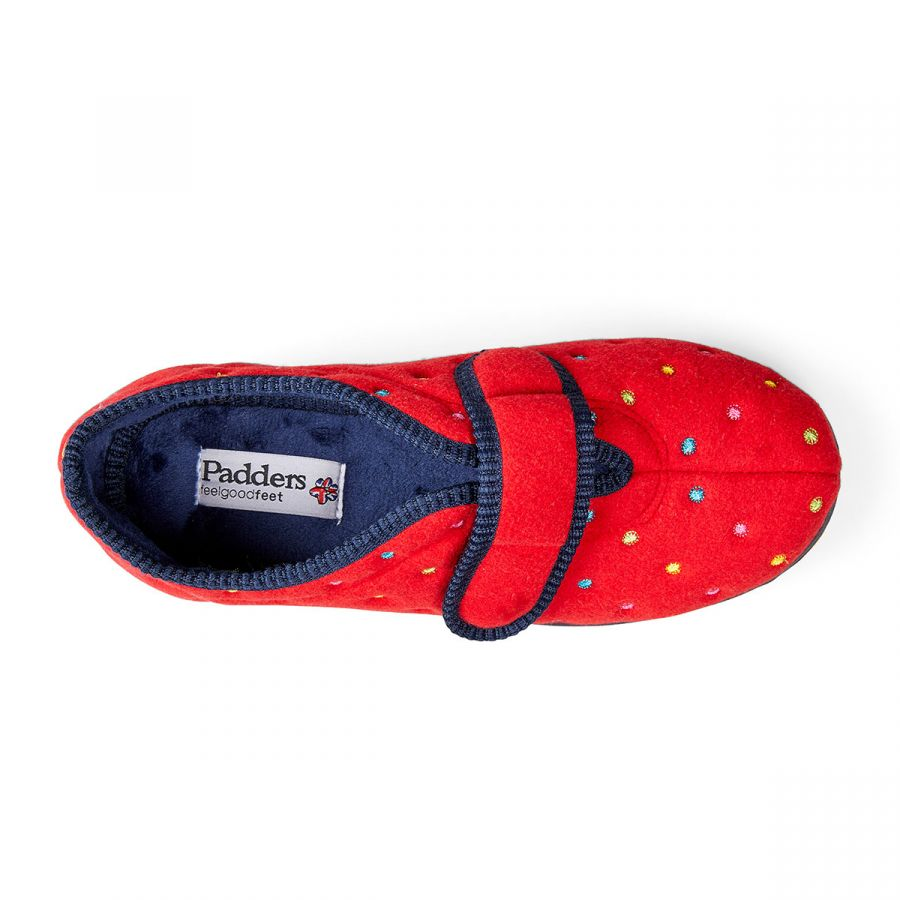Padders Camilla Slippers - Red Combi